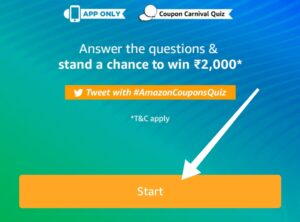 Amazon Coupon Carnival Quiz and Win ₹2000