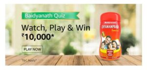 Amazon Baidyanath Quiz Banner paly and win Rs. 10,000 Amazon Pay Balance