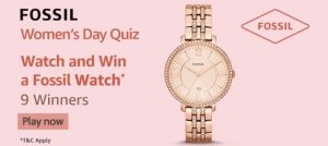 Amazon Fossil Women's Day Quiz